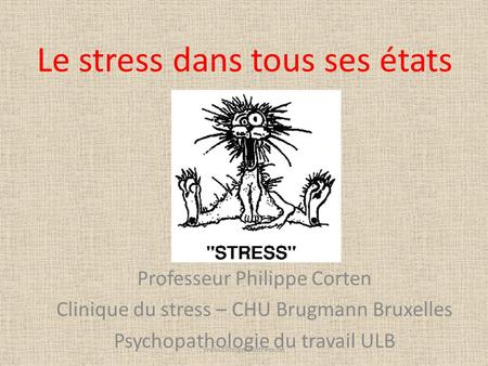 Le stress dans tous ses états Professeur Philippe Corten Clinique du stress – CHU Brugmann Bruxelles Psychopathologie du travail ULB www.cliniquedustress.be.