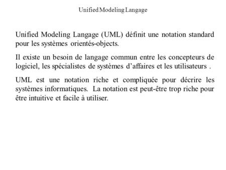 Unified Modeling Langage