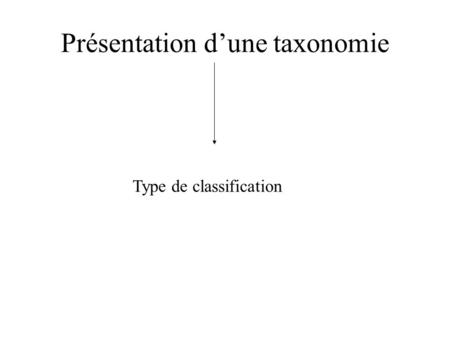 Présentation dune taxonomie Type de classification.