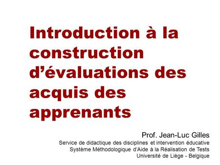 Introduction à la construction d'évaluations des acquis des apprenants
