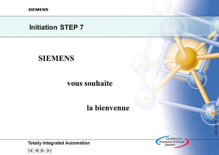 Totally Integrated Automation A&D AS V5, 09/98 N° 1 2 Initiation STEP 7 SIEMENS vous souhaite la bienvenue.