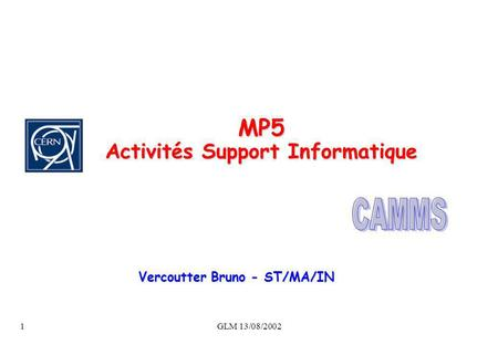 GLM 13/08/20021 MP5 Activités Support Informatique Vercoutter Bruno - ST/MA/IN.