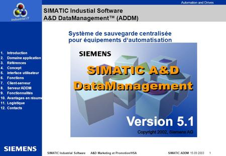 Automation and Drives SIMATIC ADDM 15.09.2003 1SIMATIC Industrial Software A&D Marketing et Promotion/HSA SIMATIC Industial Software A&D DataManagement.