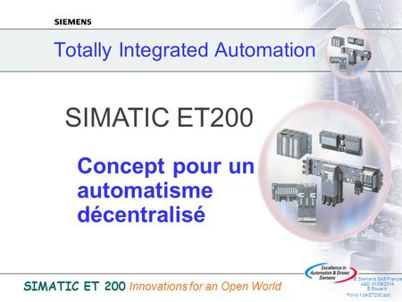 © Siemens SAS France A&D 31/05/2014 B.Bouard Folio 1 de ET200.ppt SIMATIC ET 200 Innovations for an Open World Totally Integrated Automation SIMATIC ET200.