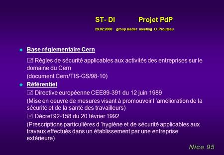 ST- DI Projet PdP group leader meeting O. Prouteau