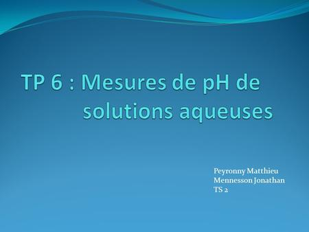 Peyronny Matthieu Mennesson Jonathan TS 2. Sommaire I / Solutions aqueuses acides  A Solutions aqueuses d'acide éthanoïque  B Solutions aqueuses d'acide.