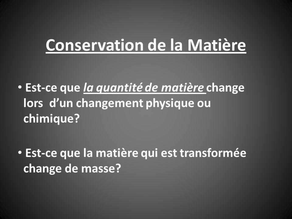 Conservation de la Matière EXPÉRIENCE A: fusion de glace En mettant de la glace dans un contenant elle peut fondre et sévaporer.