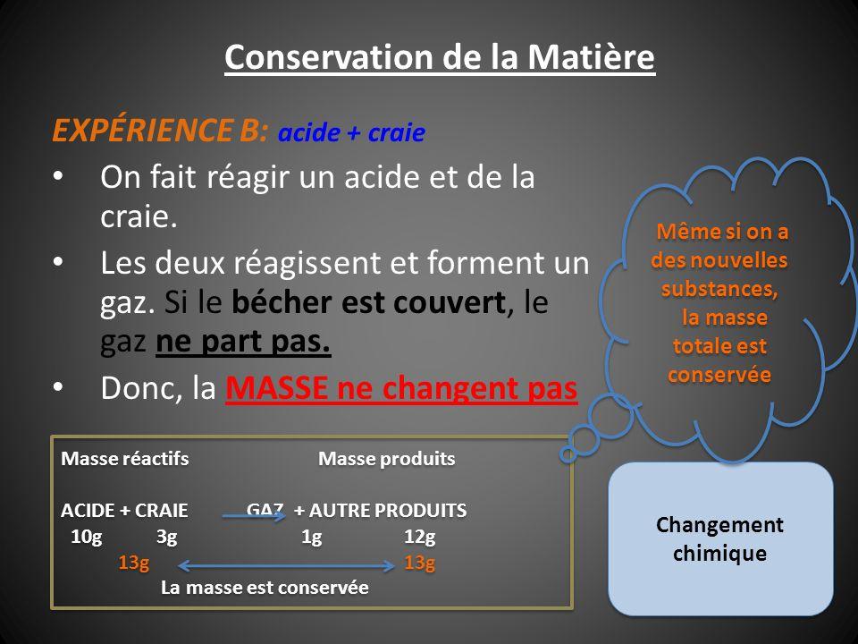 Conservation de la Matière Le système doit toujours être fermé pour conserver la masse.