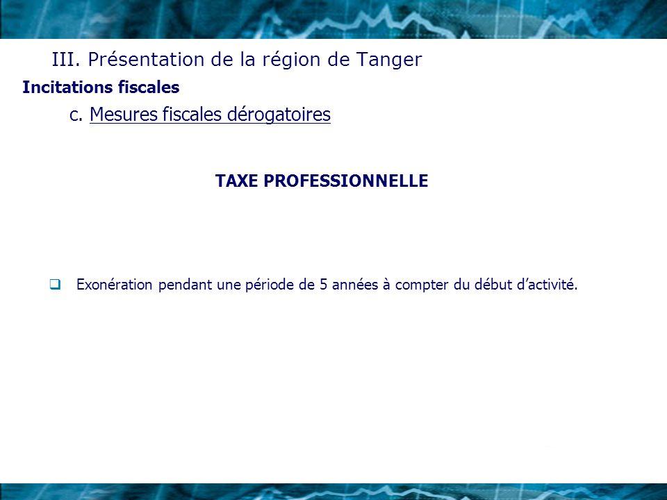 A propos de la zone franche de Tanger (TFZ) Procédures administratives Régime de contrôle du commerce extérieur et de change Régime douanier Régime fiscal Incitations fiscales d.