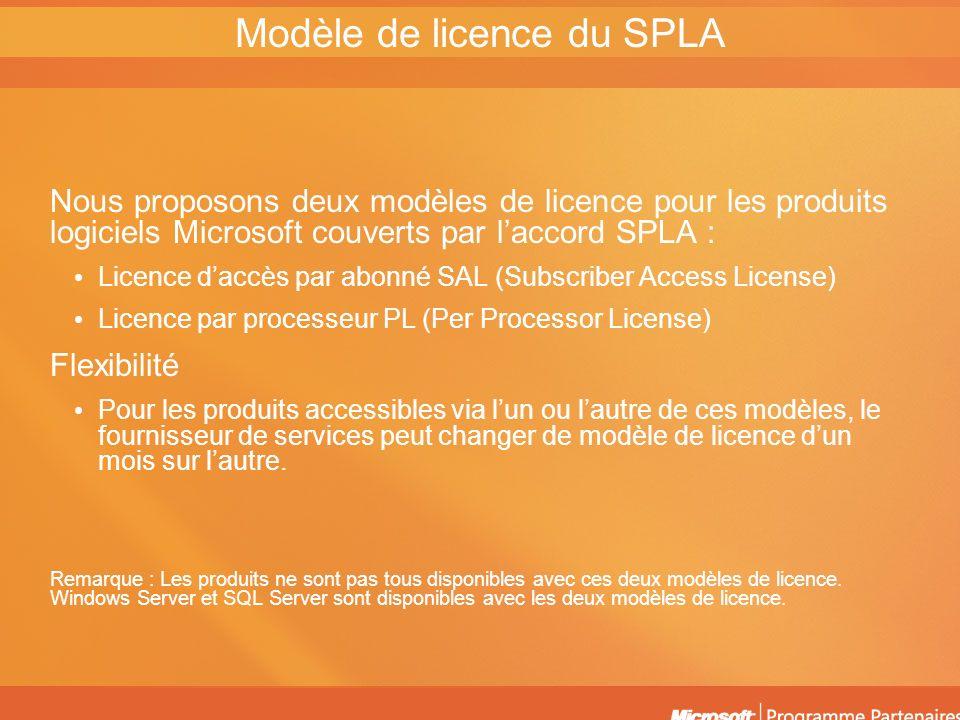 Licence daccès par abonné Une licence daccès par abonné est généralement obligatoire pour chaque individu qui utilise le logiciel sur un mois donné Les produits ne sont pas tous disponibles dans le cadre du modèle daccès par abonné Voici quelques-uns des avantages du modèle par abonné : – Les abonnés ont accès à un nombre illimité de serveurs – Les fournisseurs de services peuvent étendre leurs services – Les coûts initiaux sont minimaux Modèles de licence SPLA Licence par processeur Le logiciel sexécutant sur un seul processeur peut être utilisé par un nombre illimité de personnes pour chaque licence de processeur achetée Certains produits ne sont pas pris en charge par le modèle de licence par processeur Voici quelques-uns des avantages du modèle par processeur : – Les licences par processeur sont simples à gérer et à comptabiliser – Elles remplacent les licences de connexion à Internet – Les licences par processeur sont économiques pour différents scénarios métier
