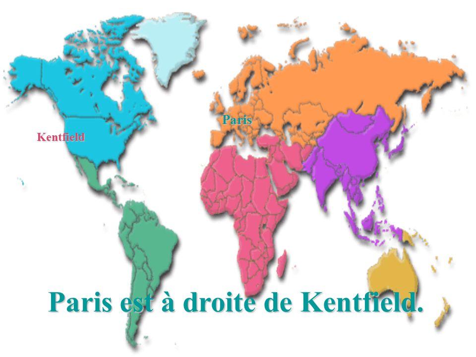 Paris est à droite de Kentfield. Paris Kentfield