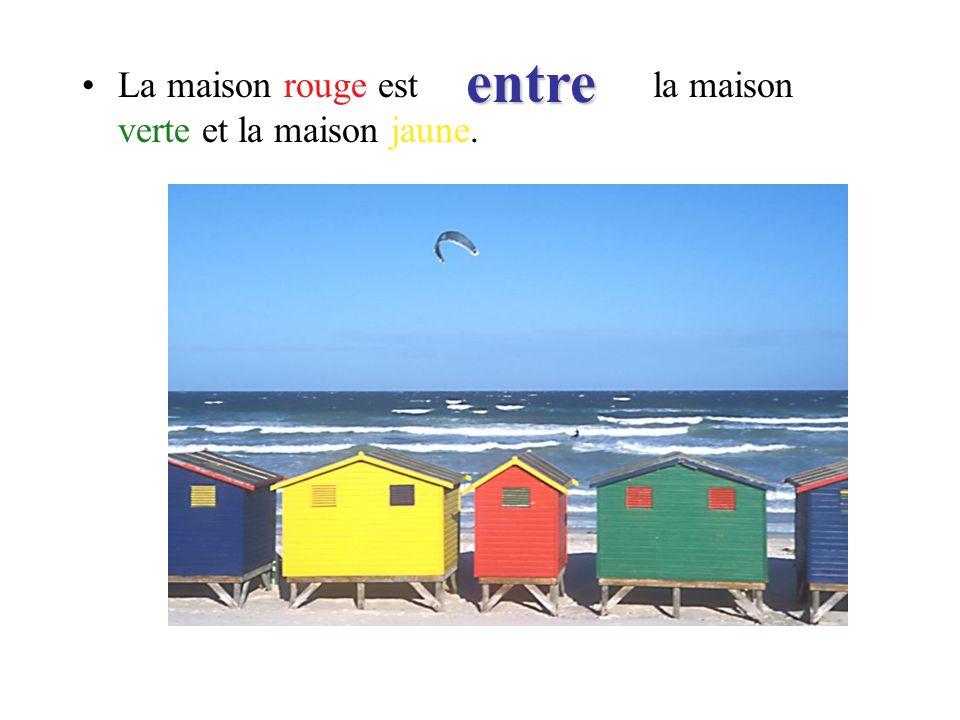 La maison rouge est la maison verte et la maison jaune. entre