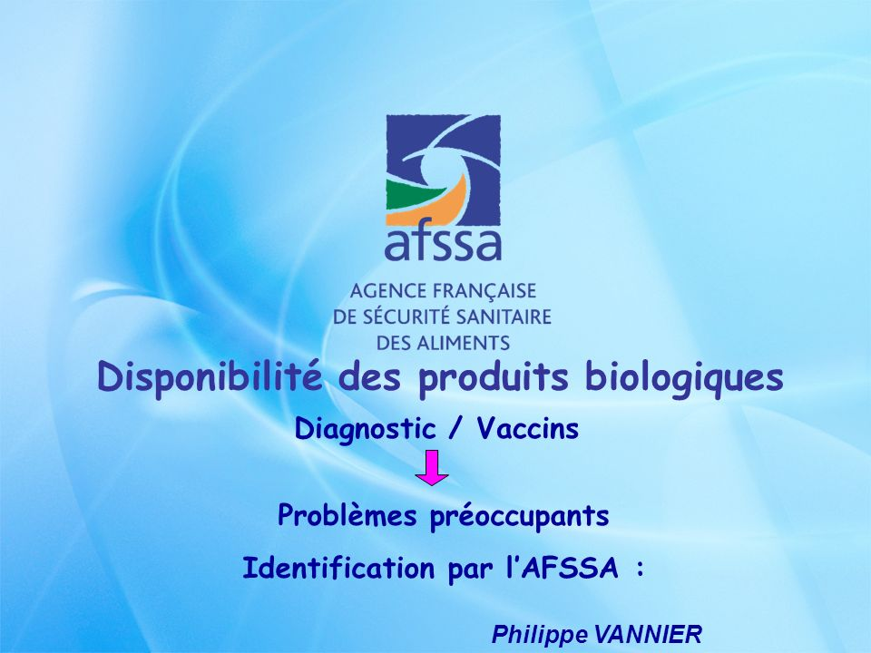 Disponibilité des produits biologiques Diagnostic / Vaccins Diagnostic = Brucelline – Tuberculine Sérums neutralisants toxines botuliniques Kits PCR gènes codant pour chacun des types de toxines de C.