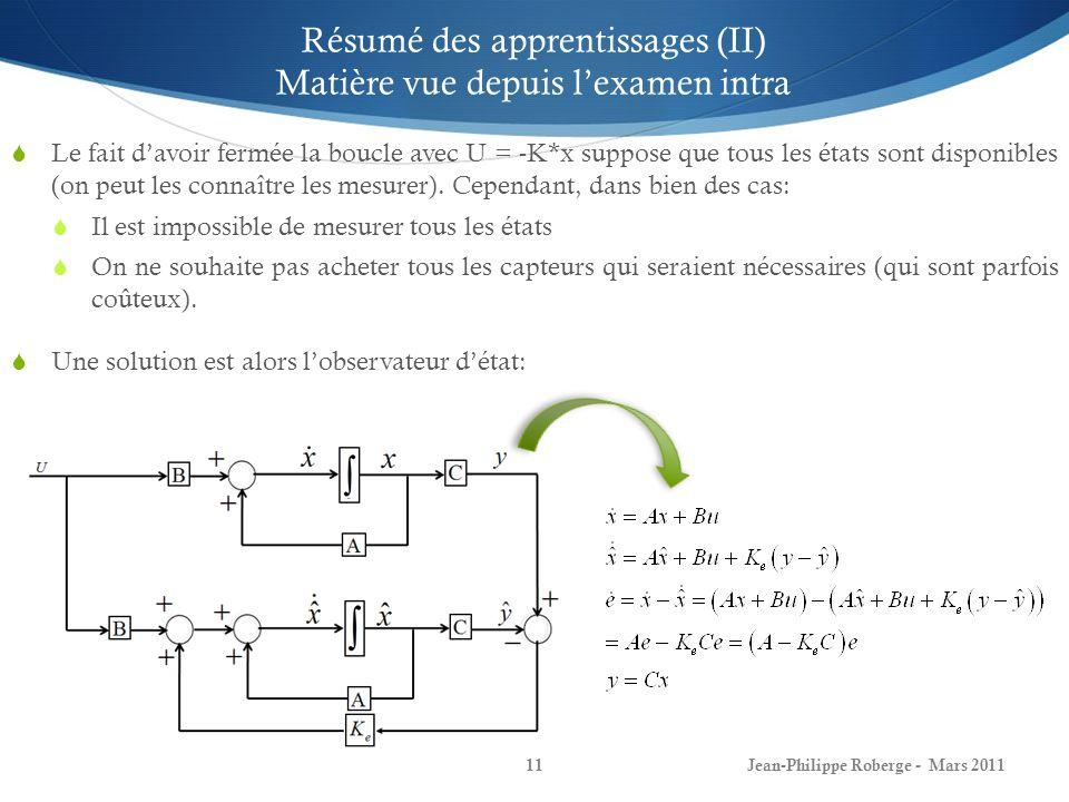 Jean-Philippe Roberge - Mars 201112 Résumé des apprentissages (III) Matière vue depuis lexamen intra Si les valeurs propres de sont à partie réelle négative, alors nous avions démontré que lerreur destimation de létat tend vers 0 quand le temps tend vers linfini.