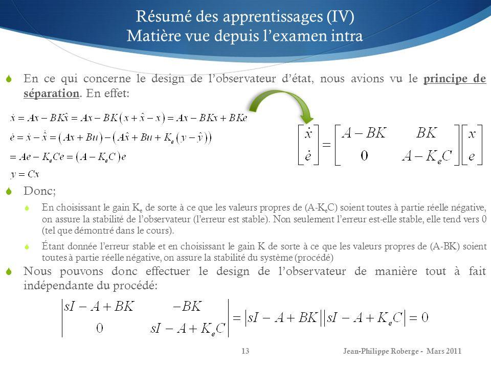 Jean-Philippe Roberge - Mars 201114 Résumé des apprentissages (V) Matière vue depuis lexamen intra Dans une foule dapplications, nous souhaitons que le procédé soit apte à suivre des consignes de type échelon (damplitude quelconque) et ce, malgré la présence possible de perturbations constantes.
