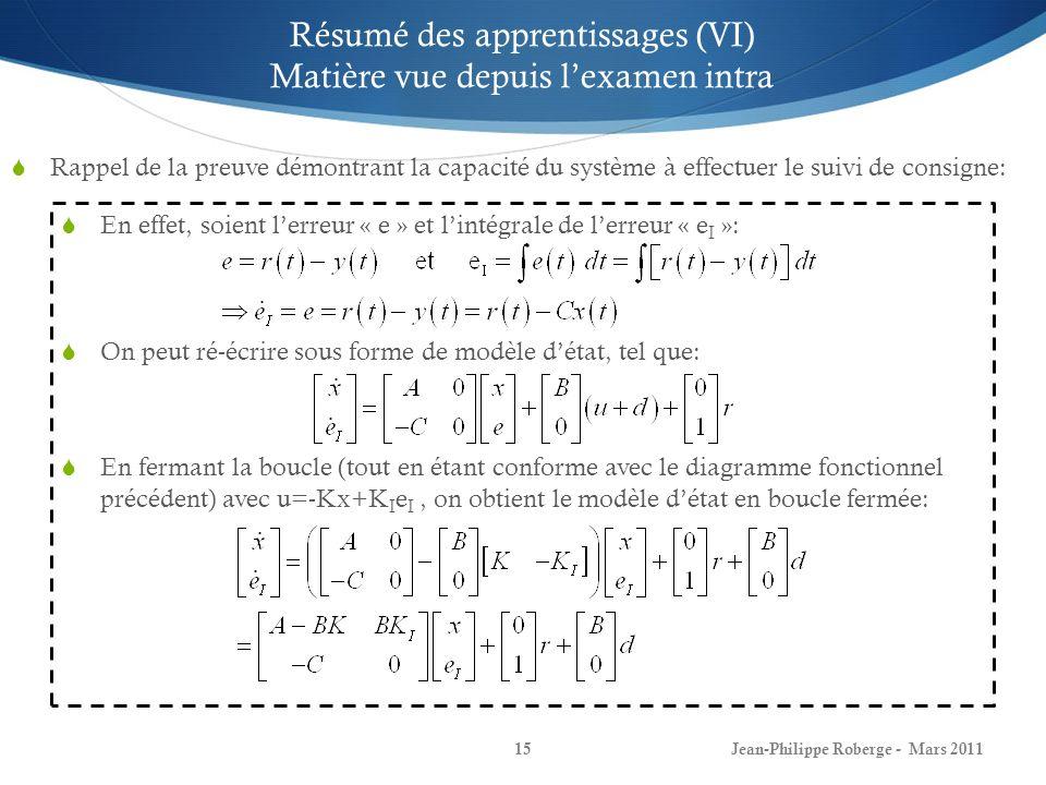 Contrôle intégral pour suivi de consigne (VII) Le système et lerreur à la sortie de lintégrateur seront stables si la matrice A e à toute ses valeurs propres à partie réelle négative.