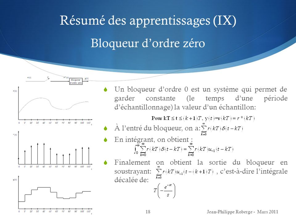 Fin du dernier cours (X) Bloqueur dordre zéro Jean-Philippe Roberge - Mars 201119 Donc, la fonction de transfert du bloqueur dordre 0 est: Exemple de système en boucle ouverte avec un bloqueur dordre 0 à lentrée: