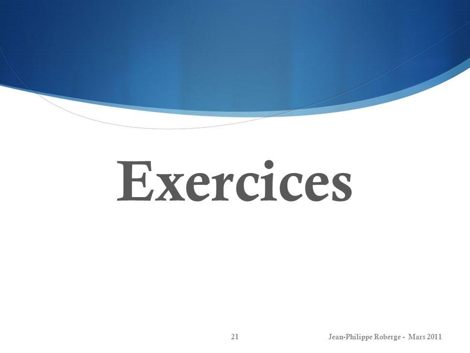 Exercices (I) Modèle détat Jean-Philippe Roberge - Mars 201122 Examen final 2008: