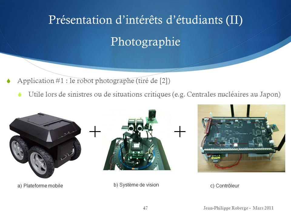 Présentation dintérêts détudiants (III) Photographie Jean-Philippe Roberge - Mars 201148