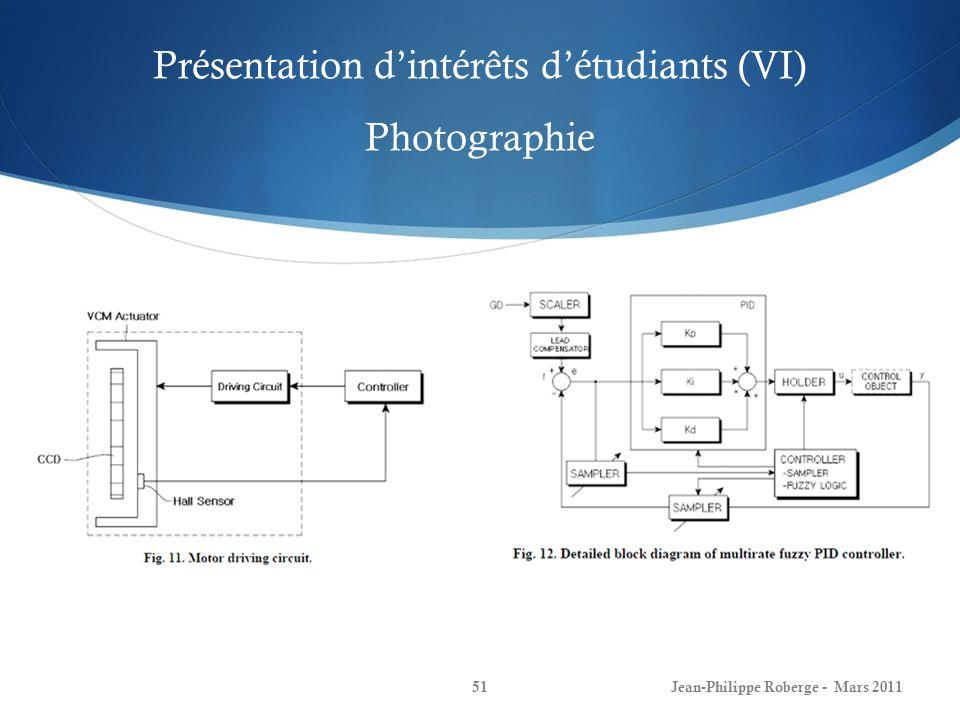Présentation dintérêts détudiants (VII) Photographie - Résultats Jean-Philippe Roberge - Mars 201152