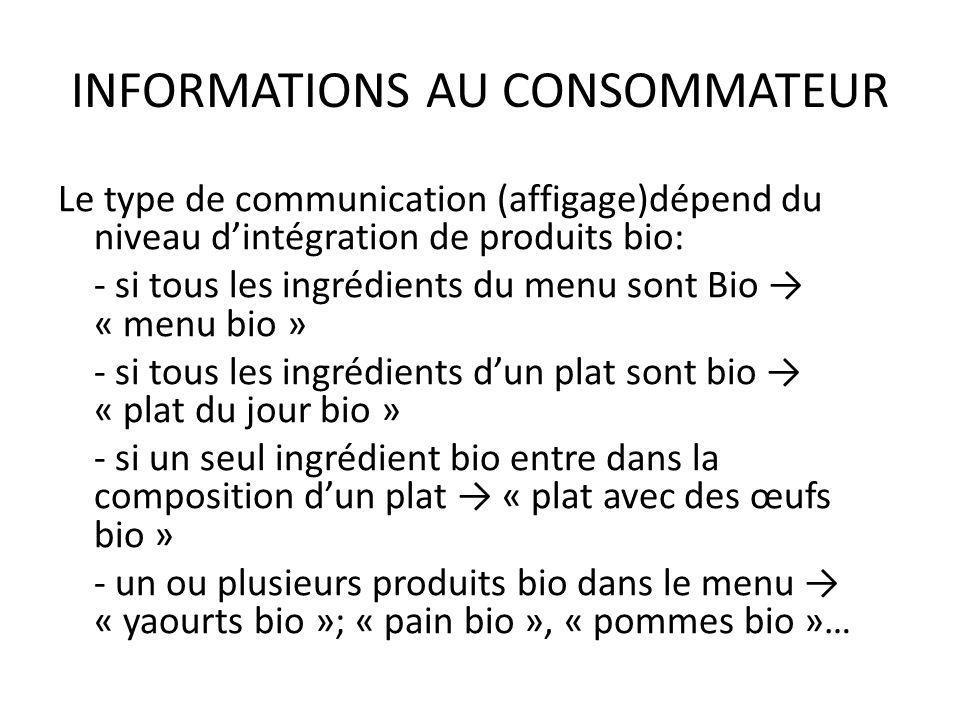 INFORMATIONS AU CONSOMMATEUR En cas dutilisation des logo AB, lorsque cest autorisé (à demander à lagence BIO), ceux-ci doivent affichés à proximité immédiate du menu, du plat ou du produit.