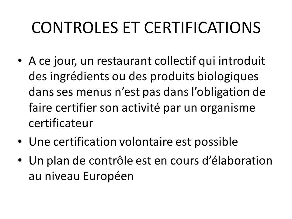CONTROLES ET CERTIFICATIONS Conformément au code de la consommation (article L.120-1 et L.121-1) toute allégation ou toute référence à lagriculture biologique doit être « loyale, lisible et compréhensible quand à la portée des engagements annoncés » En cas de contrôle par les services de létat, les restaurateurs concernés doivent être en mesure de fournir tous les justificatifs démontrant que leurs menus sont composés tout ou partie avec des produits bio.