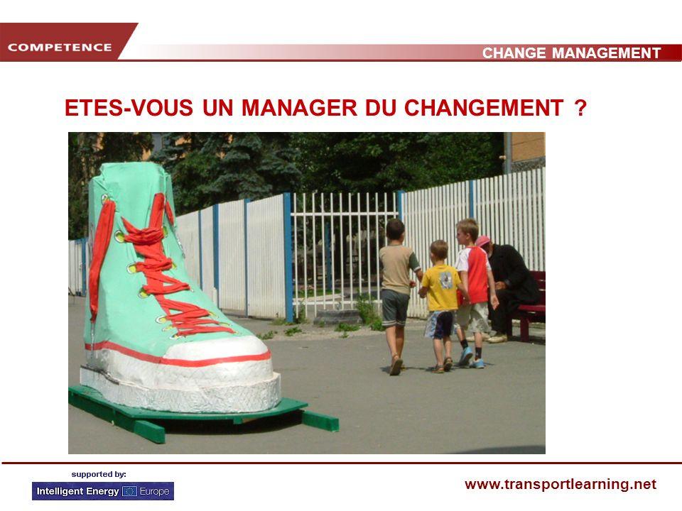 CHANGE MANAGEMENT www.transportlearning.net ETES-VOUS UN MANAGER DU CHANGEMENT ?