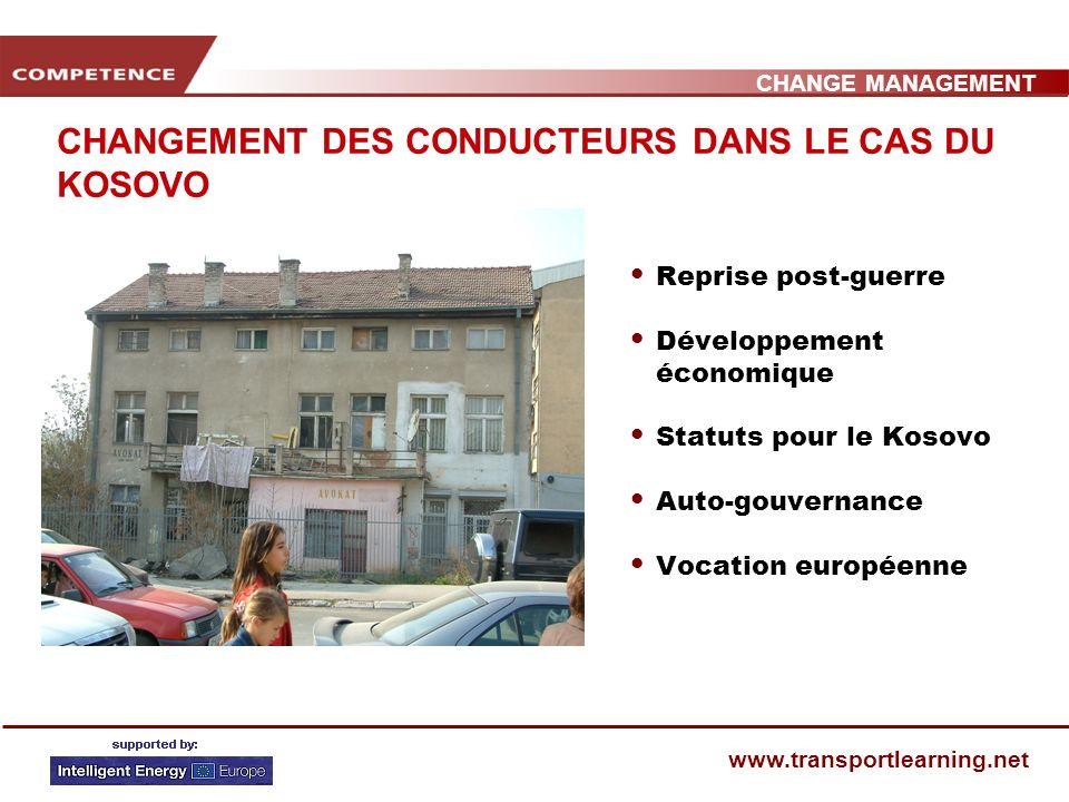 CHANGE MANAGEMENT www.transportlearning.net CHANGEMENT DES CONDUCTEURS DANS LE CAS DU KOSOVO Reprise post-guerre Développement économique Statuts pour le Kosovo Auto-gouvernance Vocation européenne