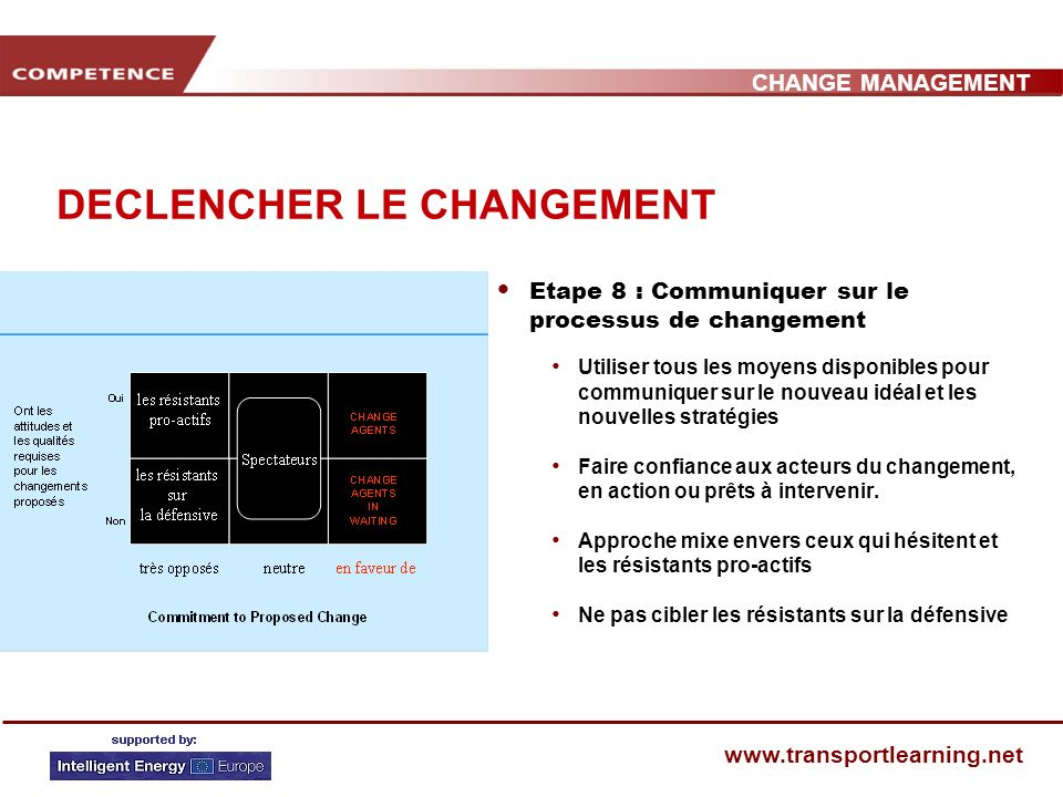 CHANGE MANAGEMENT www.transportlearning.net DECLENCHER LE CHANGEMENT Etape 8 : Communiquer sur le processus de changement Utiliser tous les moyens disponibles pour communiquer sur le nouveau idéal et les nouvelles stratégies Faire confiance aux acteurs du changement, en action ou prêts à intervenir.