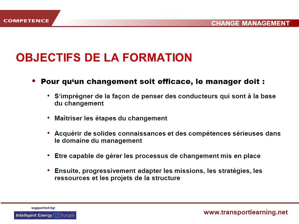 CHANGE MANAGEMENT www.transportlearning.net OBJECTIFS DE LA FORMATION Pour quun changement soit efficace, le manager doit : Simprégner de la façon de penser des conducteurs qui sont à la base du changement Maîtriser les étapes du changement Acquérir de solides connaissances et des compétences sérieuses dans le domaine du management Etre capable de gérer les processus de changement mis en place Ensuite, progressivement adapter les missions, les stratégies, les ressources et les projets de la structure