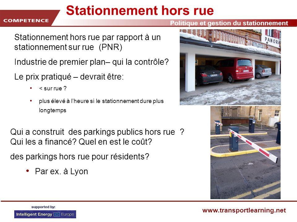 Politique et gestion du stationnement www.transportlearning.net Stationnement et vitalité économique Plus de stationnements signifie-t-il une meilleure économie .