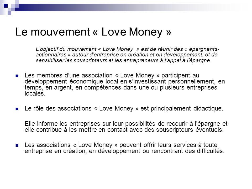 Le mouvement « Love Money » Les membres des associations « Love Money » sont des particuliers bénévoles.
