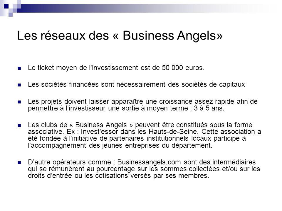 Les réseaux des « Business Angels» Il nexiste pas de procédure type de montage pour ces réseaux.
