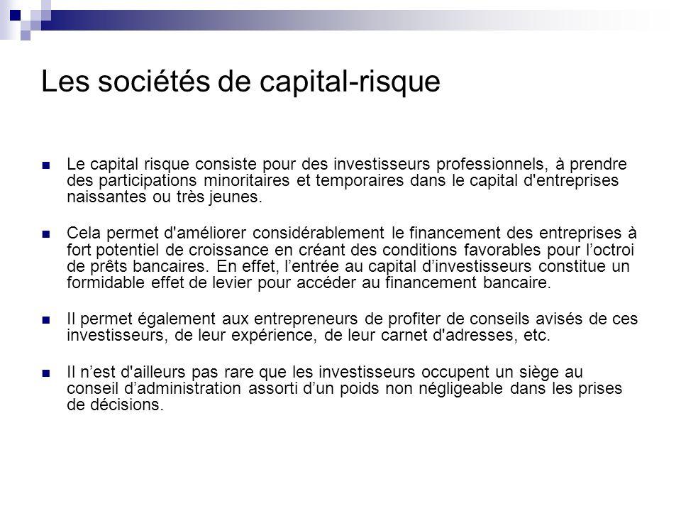 Les sociétés de capital-risque Le capital-investissement regroupe lensemble des opérations qui consistent à prendre des participations au capital de sociétés non cotées.