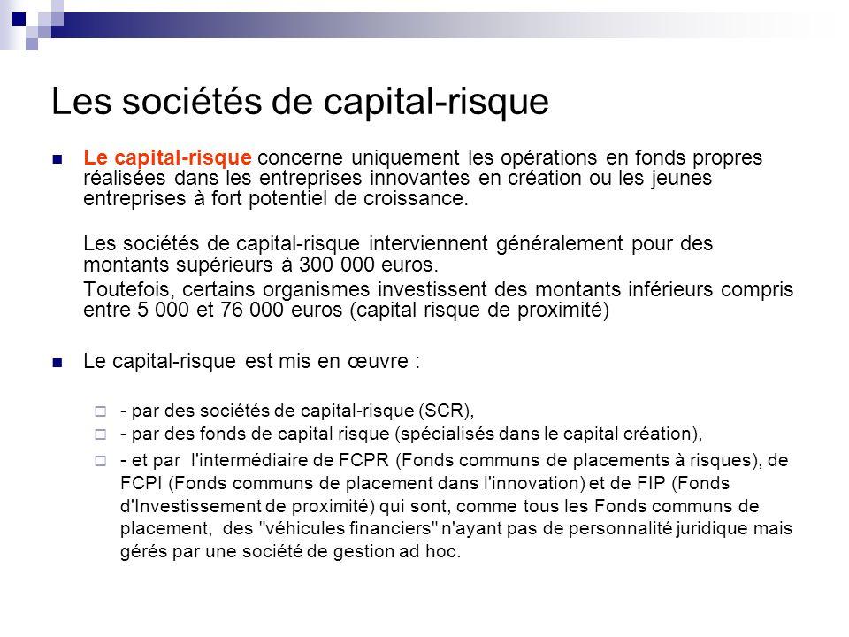 Les sociétés de capital-risque de proximité Le capital risque de proximité se définit comme un investissement temporaire et minoritaire en fonds propres dans les entreprises en création : 5 à 7 ans.