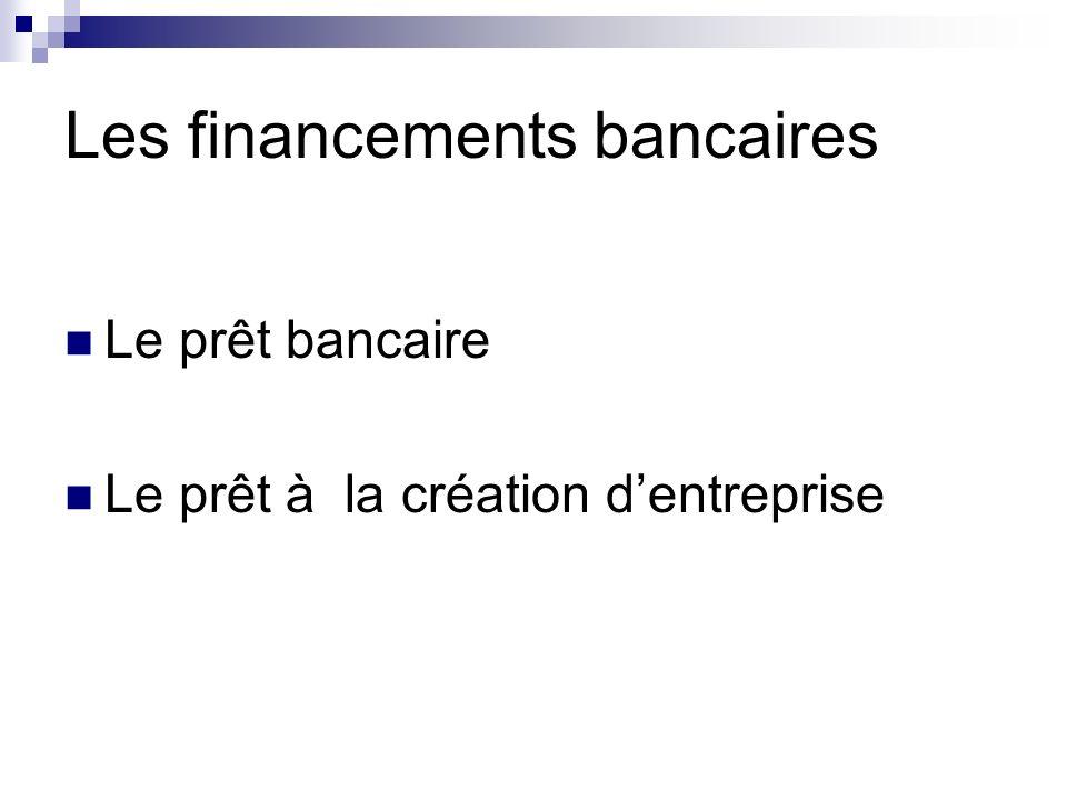 Les financements bancaires Les banques sont les financeurs principaux des entreprises.