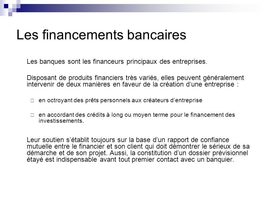 Les financements bancaires Le dossier économique sera le support du projet de création dentreprise.