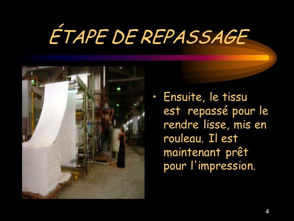 4 ÉTAPE DE REPASSAGE Ensuite, le tissu est repassé pour le rendre lisse, mis en rouleau.