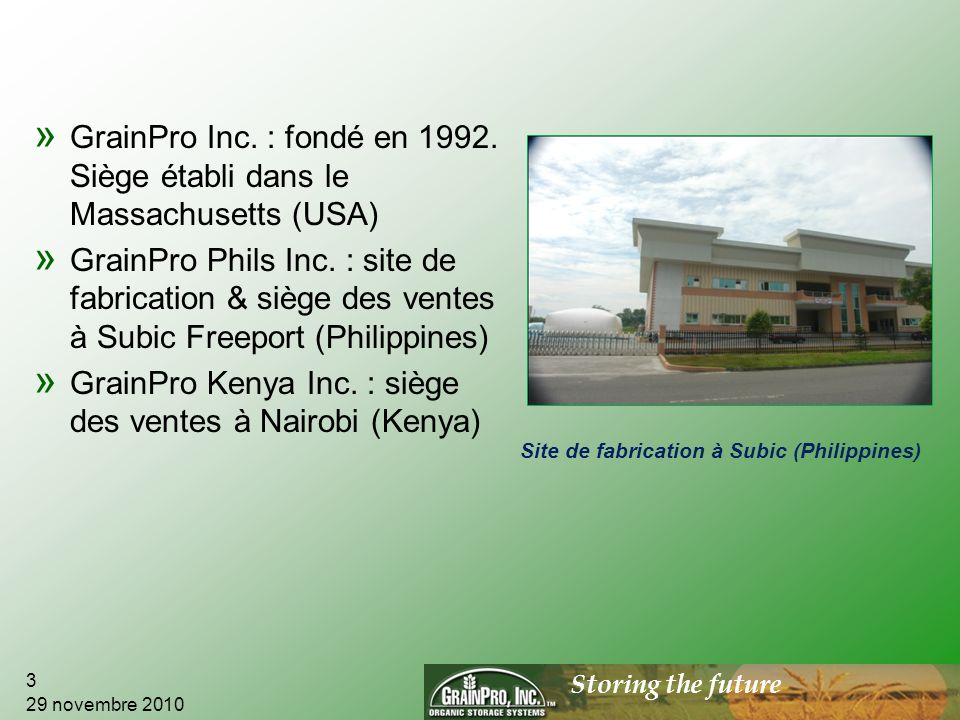 Storing the future » GrainPro Inc.: fondé en 1992.