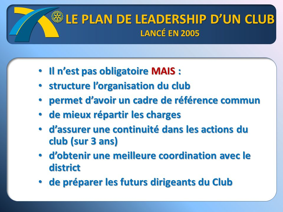 LES 5 COMMISSIONS DE BASE DU PLC Effectif Effectif Administration Administration Relations publiques Relations publiques Actions Actions Fondation Rotary Fondation Rotary