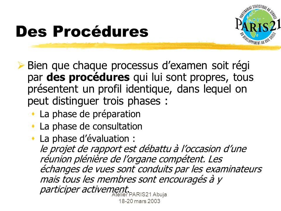 Atelier PARIS21 Abuja 18-20 mars 2003 Objectifs et Efficacité Les examens par les pairs peuvent être mis, directement ou indirectement, au service des objectifs suivants : sDialogue sur les politiques sTransparence sRenforcement des capacités.