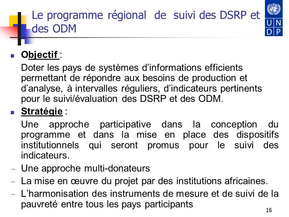 17 Le programme régional de suivi des DSRP et des ODM Objectif 1 : Concevoir et développer des systèmes dinformation sur la lutte contre la pauvreté concourant au suivi des DSRP et des objectifs de développement du Millénaire (ODM).