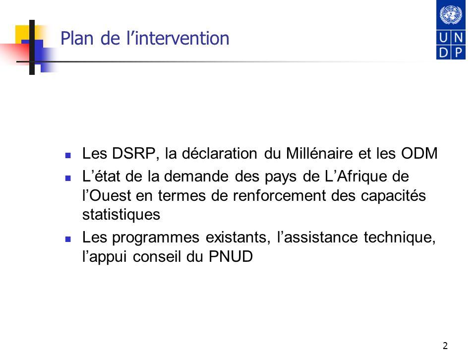 3 Les Documents de Stratégie de Réduction de la Pauvreté En 1999, un nouvel instrument de politique, le Document de Stratégie de Réduction de la Pauvreté (DRSP) est conçue, Il permet de fixer les objectifs á moyen et long terme de la stratégie de réduction de la pauvreté et le cadre macro- économique et structurel, Les efforts engagées dans le cadre du DSRP, pour réduire la pauvreté et redresser les économies, accentuent le besoin de disposer dinformations chiffrées, diversifiées et fiables.