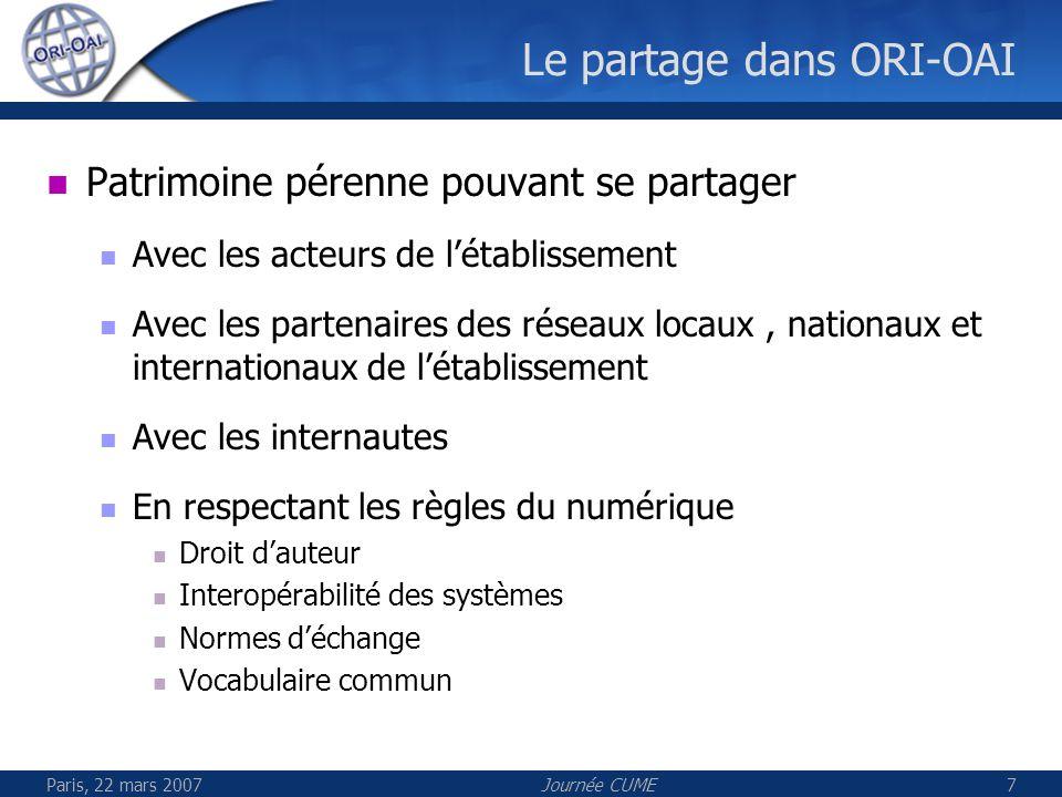 Paris, 22 mars 2007Journée CUME8 Conduite du projet ORI-OAI Un groupe projet (établissements: Insa de Lyon, Université de Rennes 1, INPT, Université de Valenciennes) Un pilotage inter-UNT Un dispositif de communication et déchange avec les partenaires potentiels