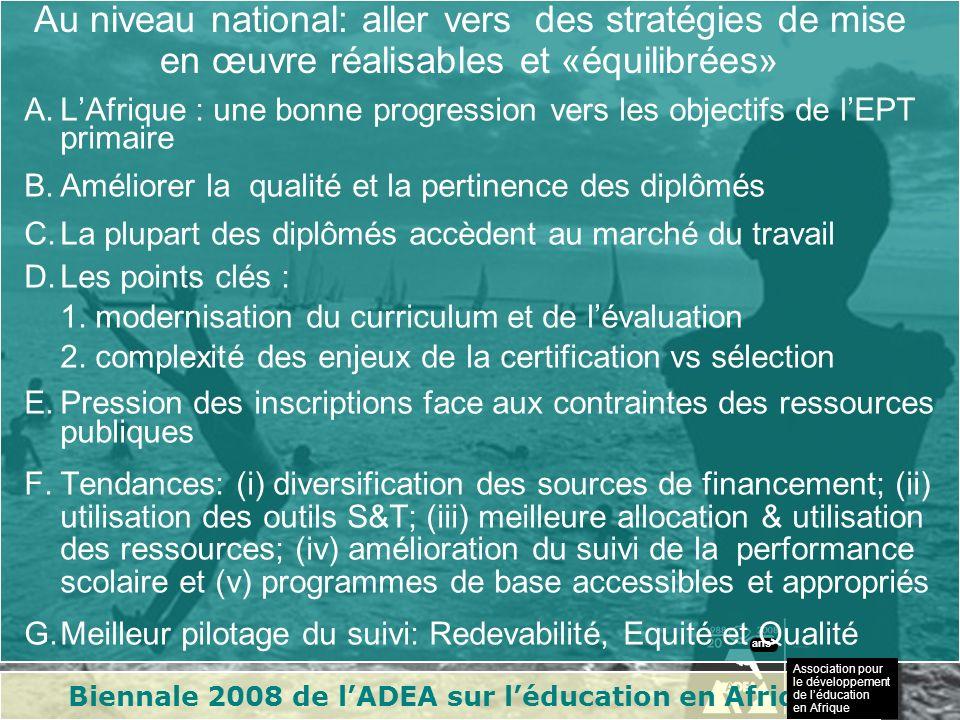 Biennale 2008 de lADEA sur léducation en Afrique Association pour le développement de léducation en Afrique ans 1.Nouvelles structures : Madagascar passant de 5 à 7 ans denseignement primaire (Kenya 8+4; Maurice 6+5+2).
