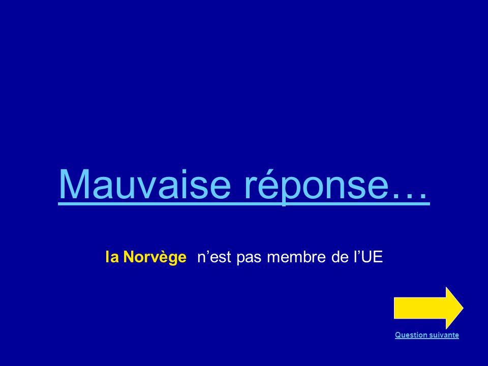 Mauvaise réponse… la Norvège nest pas membre de lUE Question suivante