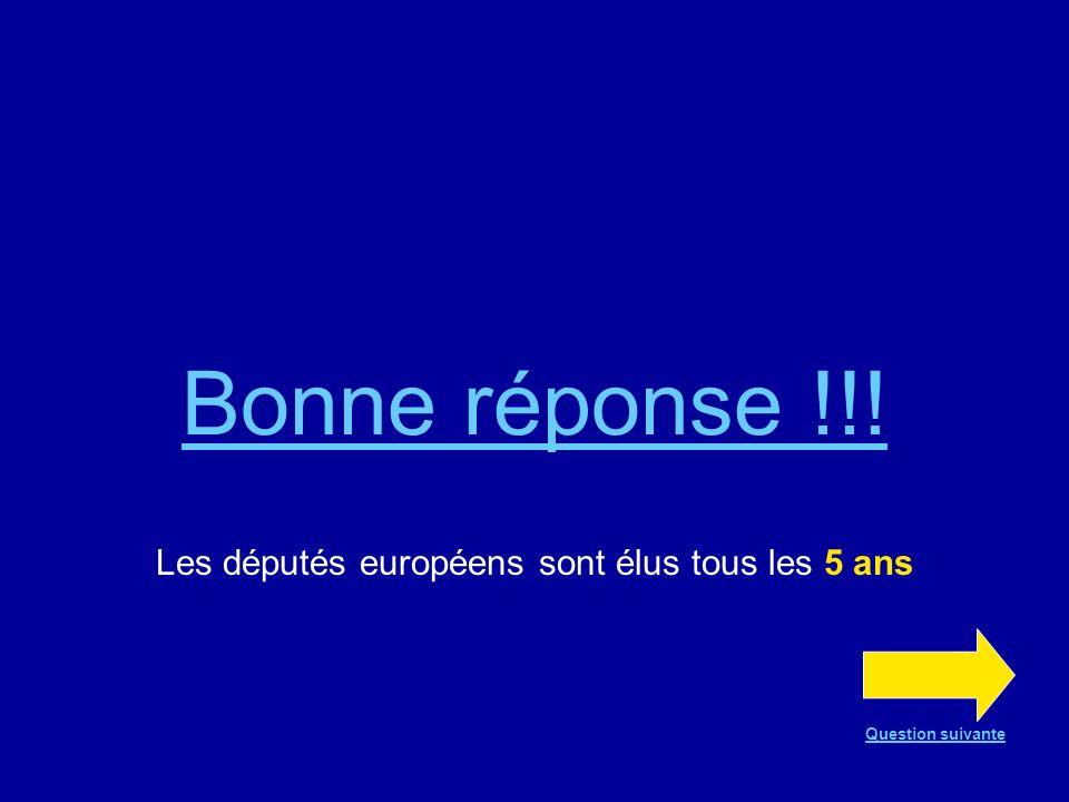 Bonne réponse !!! Les députés européens sont élus tous les 5 ans Question suivante