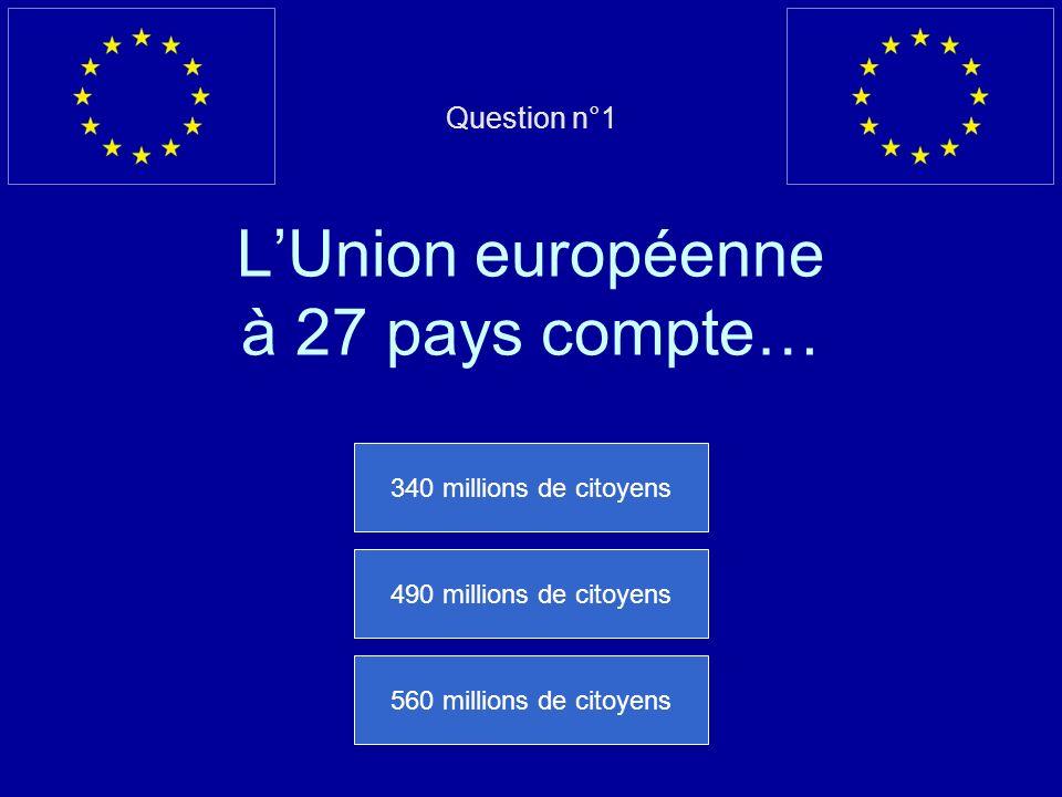 Question n°1 LUnion européenne à 27 pays compte… 340 millions de citoyens 490 millions de citoyens 560 millions de citoyens