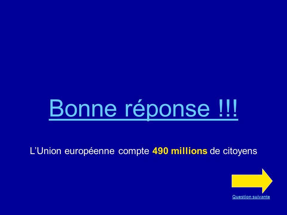 Bonne réponse !!! LUnion européenne compte 490 millions de citoyens Question suivante