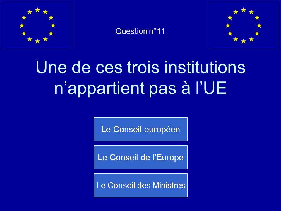 Question n°11 Une de ces trois institutions nappartient pas à lUE Le Conseil européen Le Conseil de lEurope Le Conseil des Ministres